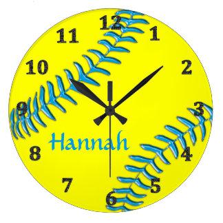 Relógio Grande O softball cronometra seu NOME, fundo, CORES de