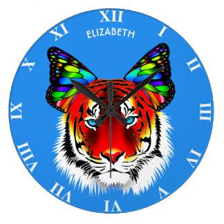 Relógio Grande O tigre vermelho psicadélico com orelhas da