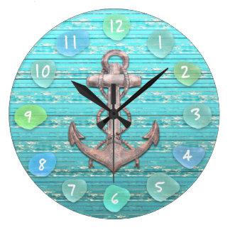 Relógio Grande Oceano de vidro da madeira lançada costa da praia