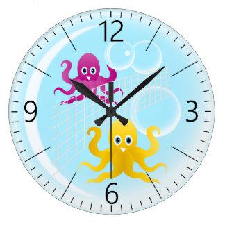 Relógio Grande Octopies engraçados que jogam o voleibol