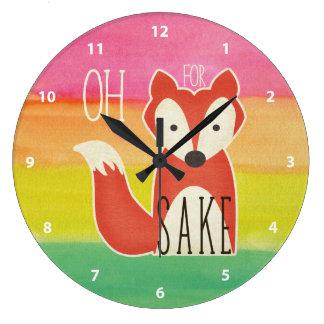 Relógio Grande Oh para listras da aguarela da causa do Fox