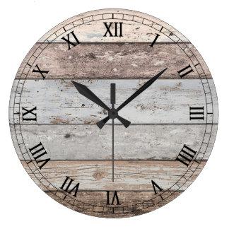 Relógio Grande Olhar de madeira recuperado na moda