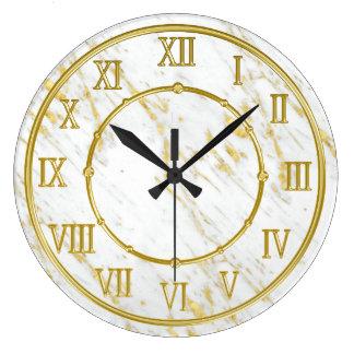 Relógio Grande Olhar de mármore elegante da pedra e do ouro