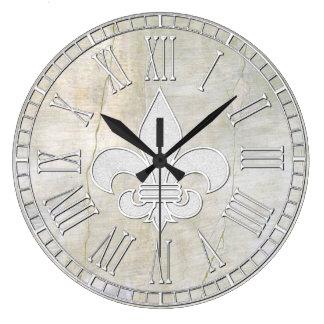 Relógio Grande Olhar do emplastro do vintage da flor de lis