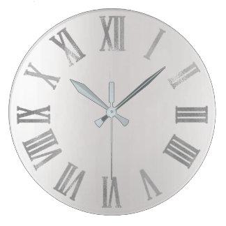 Relógio Grande Ombre de prata cinzento Numers romano metálico