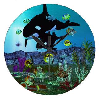 Relógio Grande ORCA do aquário da exploração 3D