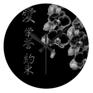 Relógio Grande Orquídeas japonesas