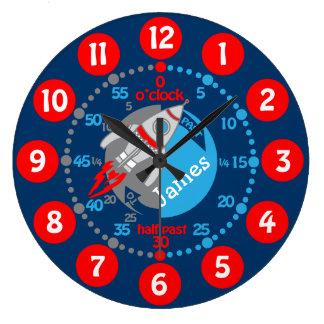 Relógio Grande Os meninos dos miúdos aprendem dizer a tempo o