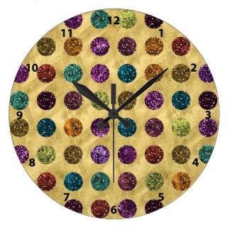 Relógio Grande Ouro colorido das bolinhas do brilho