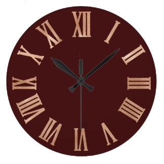 Relógio Grande Ouro cor-de-rosa Borgonha Numers romano metálico