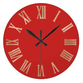 Relógio Grande Ouro cor-de-rosa Numers romano metálico Pastel de
