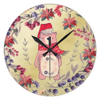 Relógio Grande Ouro das bagas da aguarela do urso do Natal