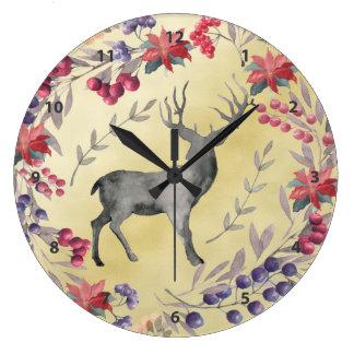 Relógio Grande Ouro das bagas do inverno dos cervos da aguarela