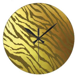 Relógio Grande Ouro e tigre de Azeitona-Brown listrado