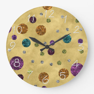 Relógio Grande Ouro glamoroso das bolinhas do brilho