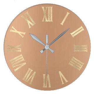 Relógio Grande Ouro magro Numers romano metálico mínimo do