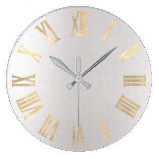 Relógio Grande Ouro Numers romano metálico mínimo cinzento do