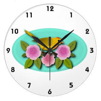 Relógio Grande Oval amarelo das peônias e do Aqua do rosa do