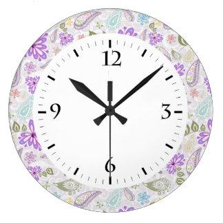 Relógio Grande Padrões pastel coloridos bonitos de paisley