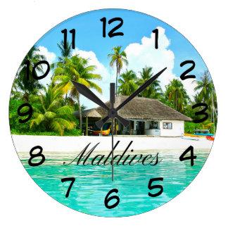 Relógio Grande Paisagem bonita de Maldives