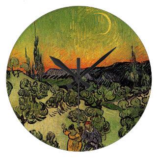 """Relógio Grande Paisagem de Van Gogh a """"com o pulso de disparo de"""