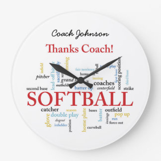 Relógio Grande Palavras do treinador do softball dos obrigados do