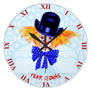 Relógio Grande Palhaço bonito assustador com cabelo alaranjado e
