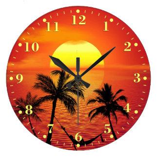 Relógio Grande Palmeiras tropicais do oceano do por do sol da