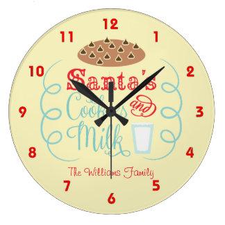 Relógio Grande Papai noel vermelho e bege leite e biscoitos