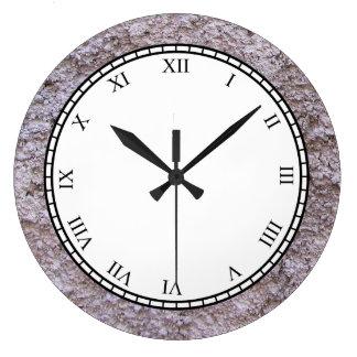 Relógio Grande Parede cinzenta crua áspera da construção de Beton