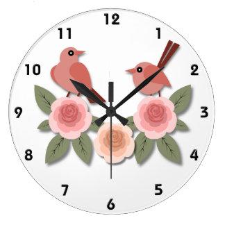 Relógio Grande Passarinhos cor-de-rosa em peônias cor-de-rosa