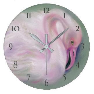 Relógio Grande Pastel cor-de-rosa macio do flamingo