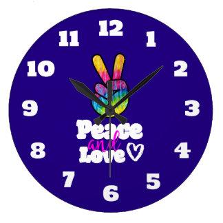 Relógio Grande Paz do sinal de paz da mão do arco-íris e