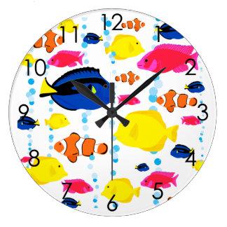Relógio Grande Peixes tropicais coloridos bonitos