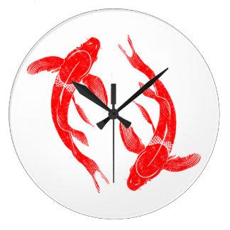 Relógio Grande Peixes vermelhos de Koi