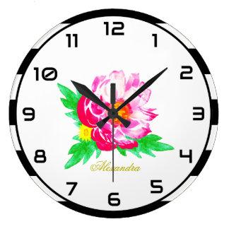 Relógio Grande Peônia cor-de-rosa do monograma no pulso de