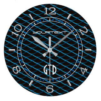 Relógio Grande Pérola azul personalizada da malha industrial