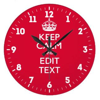 Relógio Grande Personalizado mantenha a calma e tenha seu texto