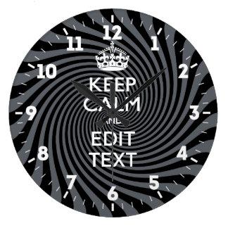 Relógio Grande Personalizado mantenha a calma para obter seu