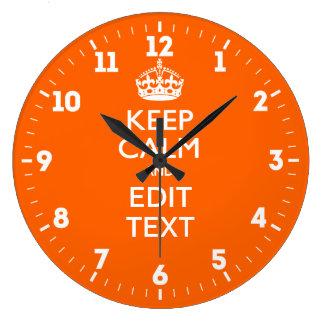 Relógio Grande Personalizado mantenha a calma para ter seu texto