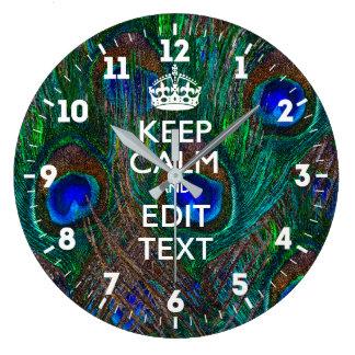 Relógio Grande Personalizado mantenha a calma seu estilo do pavão
