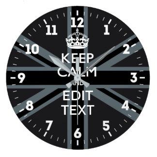 Relógio Grande Personalizado mantenha a calma seu preto BRITÂNICO