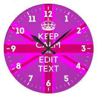 Relógio Grande Personalizado mantenha a calma seu rosa BRITÂNICO