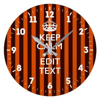 Relógio Grande Personalizado mantenha a calma seu texto em