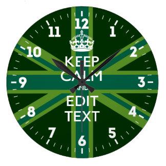 Relógio Grande Personalizado mantenha a calma seu verde BRITÂNICO