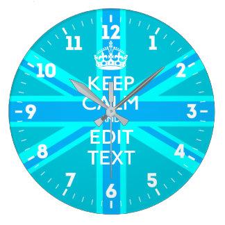 Relógio Grande Personalizado mantenha a calma seus azul-céu
