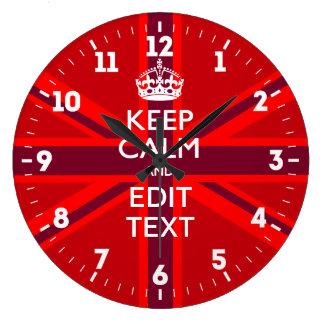 Relógio Grande Personalizado mantenha a calma sua bandeira