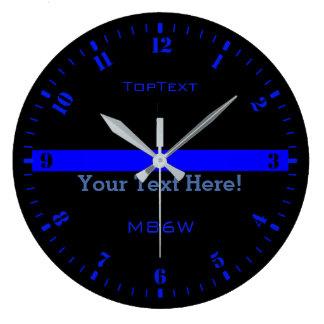 Relógio Grande Personalize Blue Line fino com 3 linhas do texto