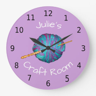 Relógio Grande Personalizou seu nome, sala do artesanato, crochet