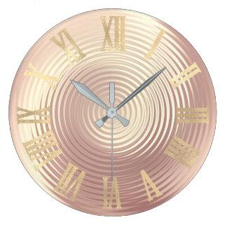 Relógio Grande Pêssego cor-de-rosa de seda Numers romano de vidro